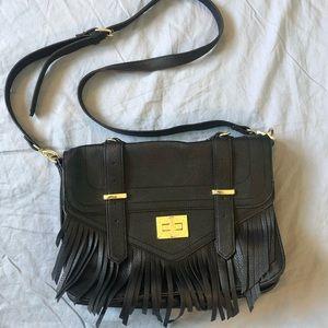 Steve Madden Black Fringe Structured Crossbody Bag